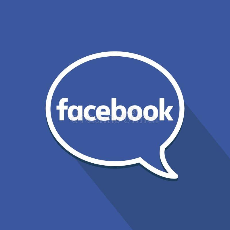 Facebook płaska ikona z mowa bąblem Czyści wektorowego symbol 3d medialnego modela znaka ogólnospołeczny biel ilustracji