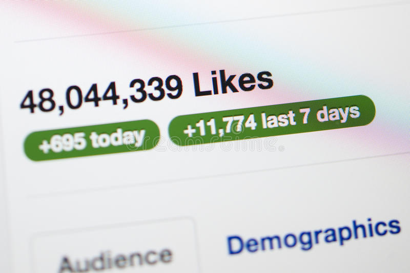 Facebook page with millions of likes royalty free stock photo