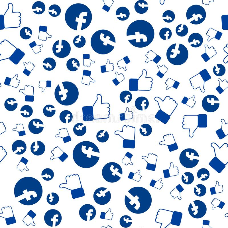 The facebook pattern, thumbs up, you can use for wallpapers, fill images, web page background, surface texture. stock illustration