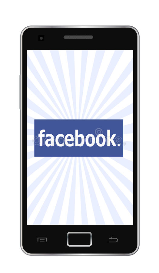 Facebook phone. Facebook logo on touch phone screen. (illustration