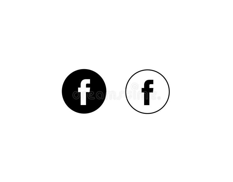 Facebook pisze list F ikony ogólnospołecznych środki na białym tło wektorze royalty ilustracja