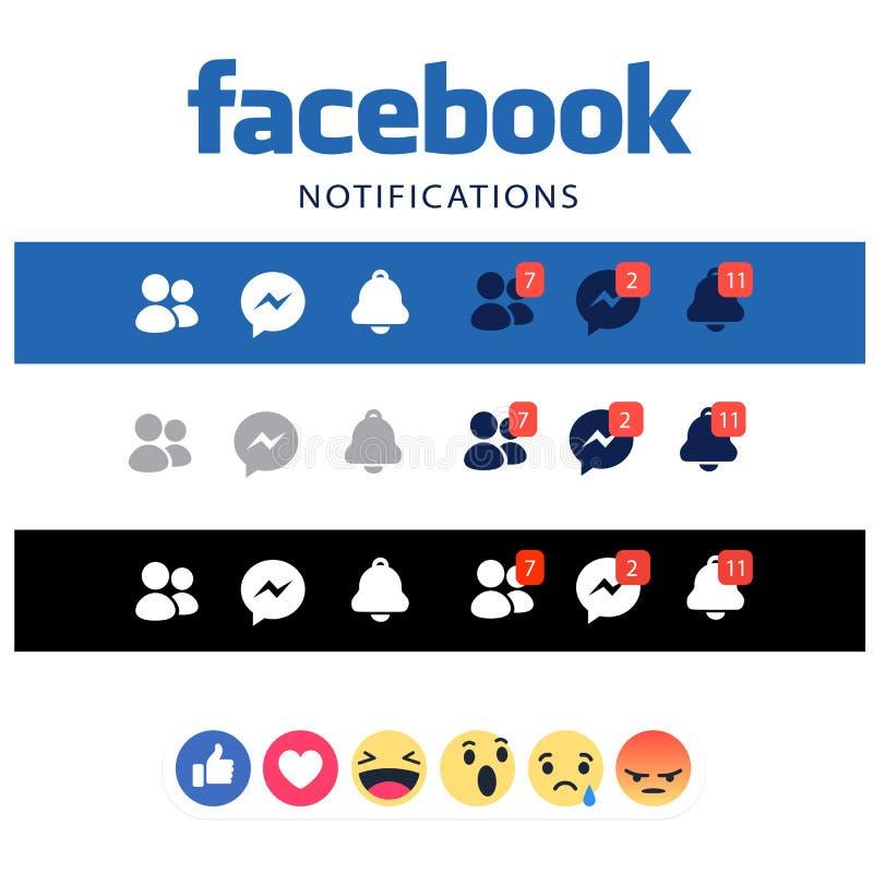 Facebook powiadomienie, nowi guziki Jak guziki royalty ilustracja