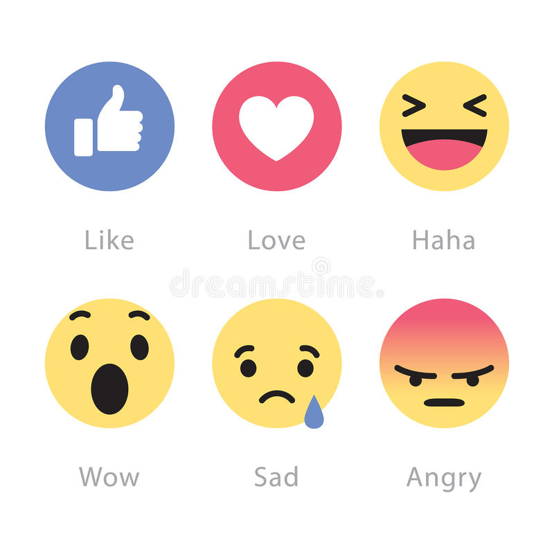 Facebook rolls out five new reactions buttons. Johor, Malaysia - Feb 25, 2016: Facebook users show range of reactions to new love, haha, wow, sad, angry vector illustration