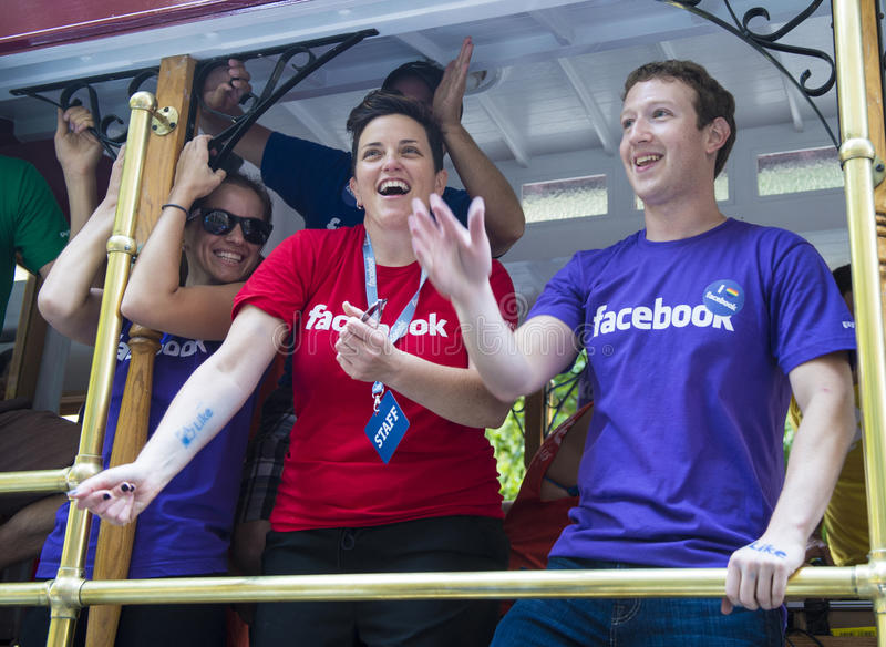 Facebook in San Francisco gay pride royalty free stock image