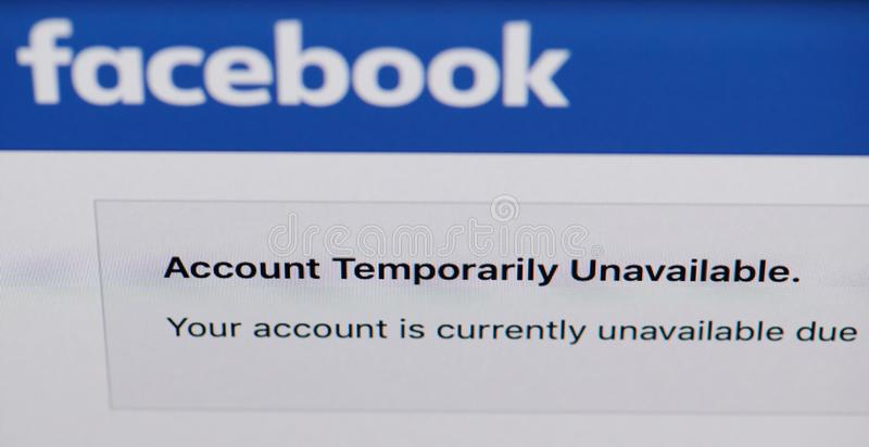 Facebook scam account. New york, USA - august  4, 2019: Facebook scam account temporarily unavailable on laptop screen stock photography