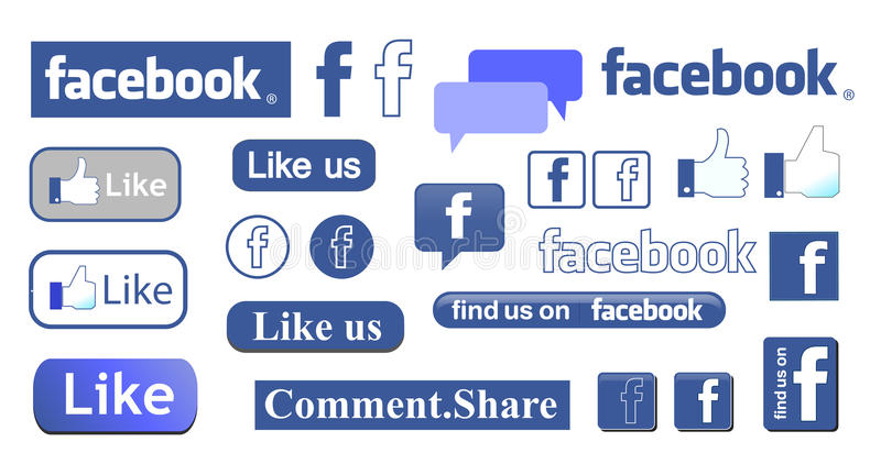 Facebook. Set of facebook like icons on white background