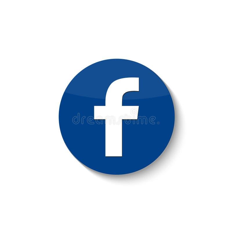 Facebook sieci ogólnospołeczna ikona z cieniem wektor royalty ilustracja