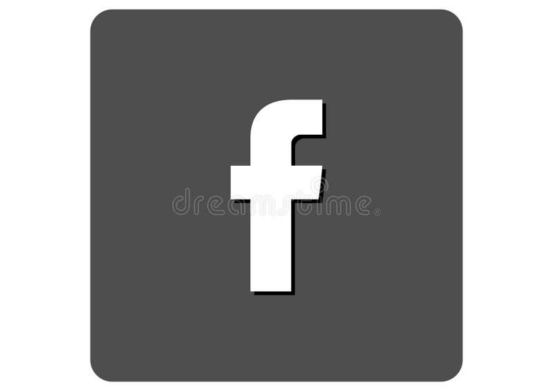 Facebook Social Media Logo. Grey Scale. vector format available illustrator AI stock illustration