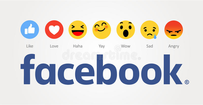 Facebook som är ny som knappar stock illustrationer