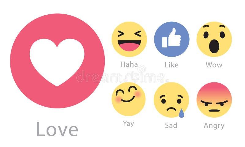 Facebook srotola cinque nuovi bottoni delle reazioni illustrazione vettoriale