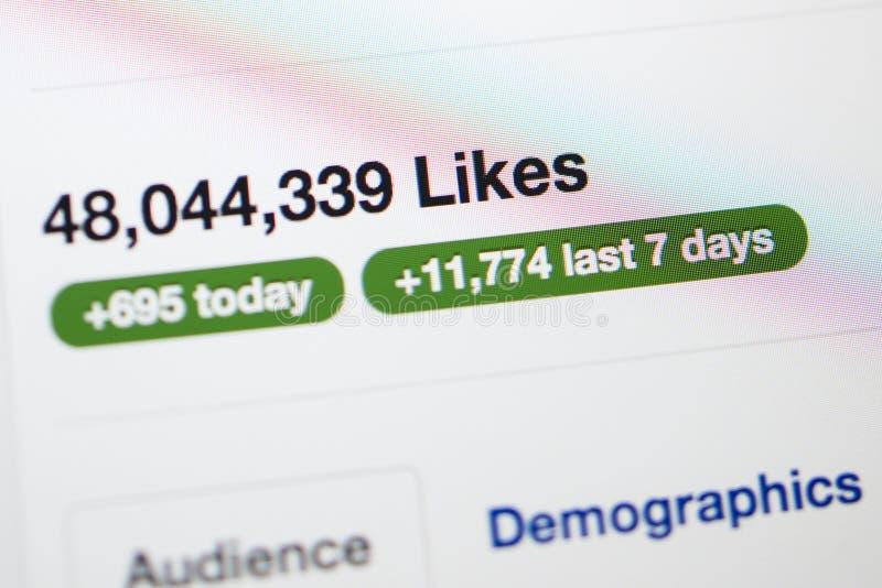 Facebook strona z millions podobieństwa zdjęcie royalty free