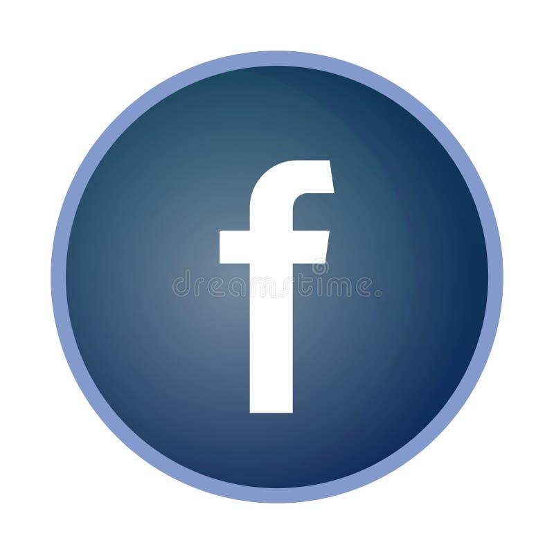 Facebook symbol, symbol, tumnagel, isolerad knappvit vektor illustrationer