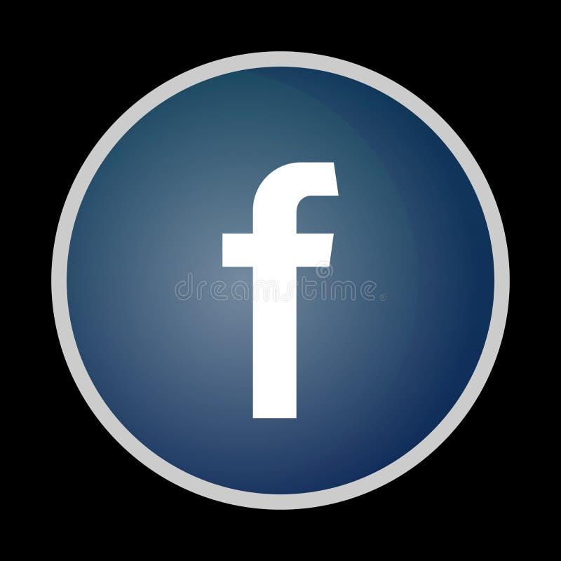 Facebook symbol, symbol, tumnagel, knappsvart som isoleras vektor illustrationer