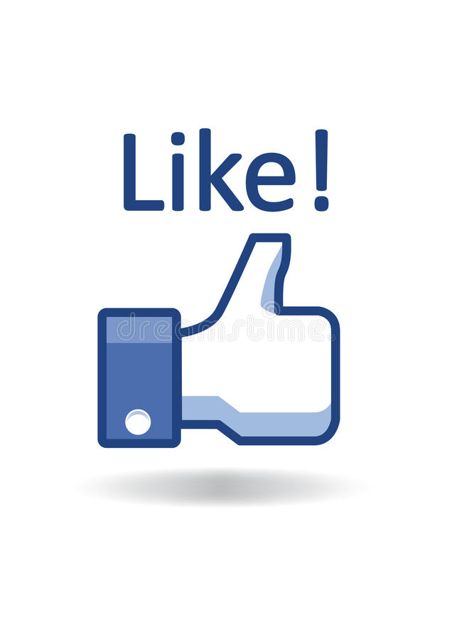 Facebook thumb like!. Blue floating facebook icon of thumb pointing upwards with text like! above it