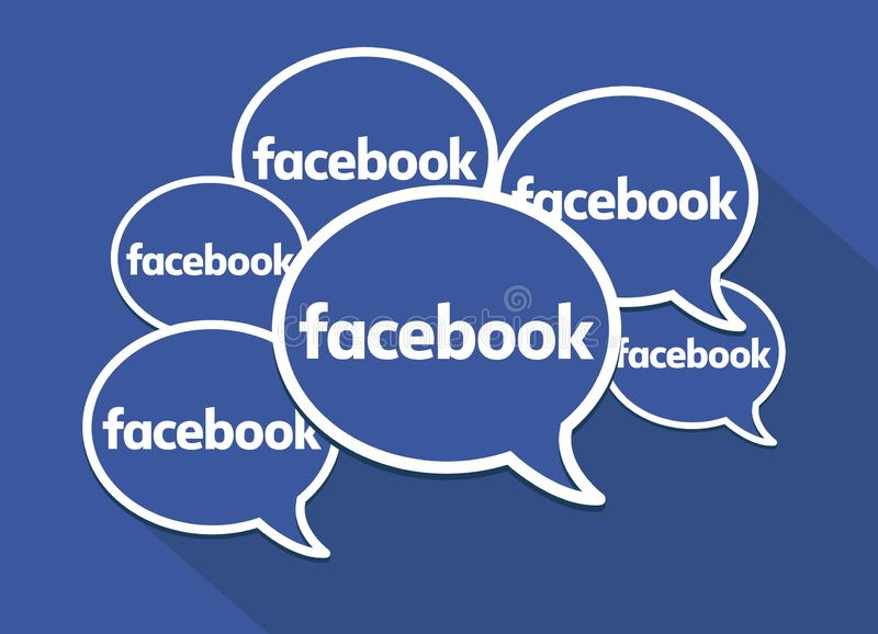 Facebook-toespraakbellen Schoon vectorsymbool Sociale media, voorzien van een netwerk en mededelingen royalty-vrije illustratie