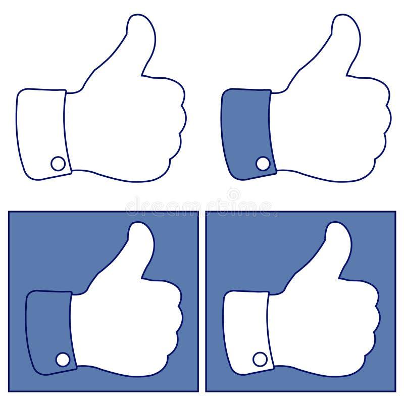 Facebook tumme upp som knappsymbolsuppsättning stock illustrationer