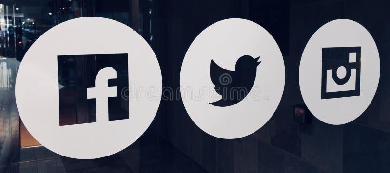 Facebook, Twitter e Instagram immagine stock