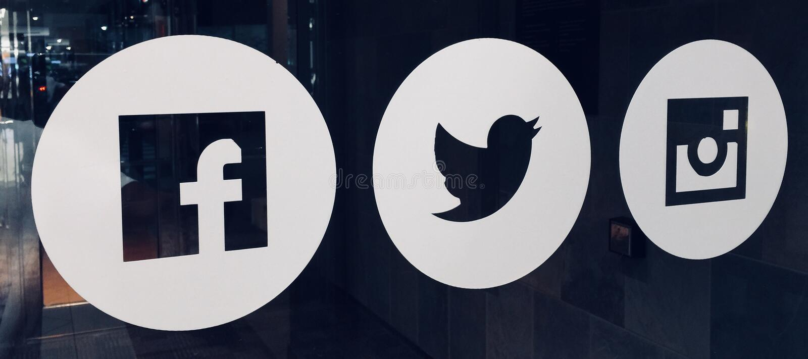 Facebook, Twitter and Instagram stock image