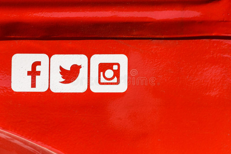 Facebook, Twitter and Instagram Social Media Icons on Red Metal Background. BUCHAREST, ROMANIA - SEPTEMBER 11, 2016: Facebook, Twitter and Instagram Social Media royalty free stock photography