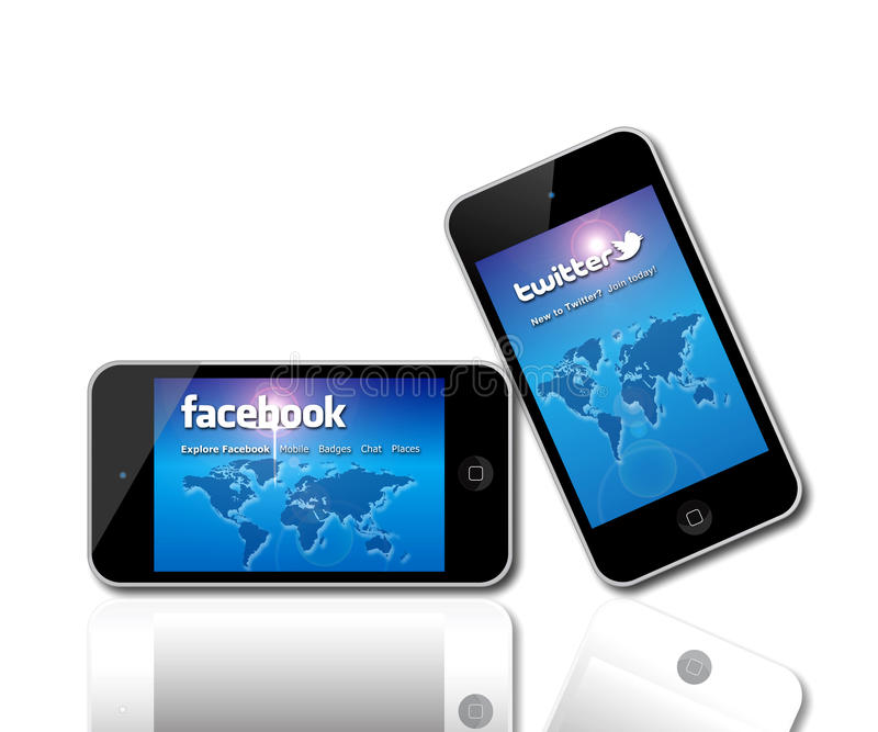 Facebook and Twitter social network giants. An image showing an Apple media product - either the iPhone or the iPod being used as an internet browser to access