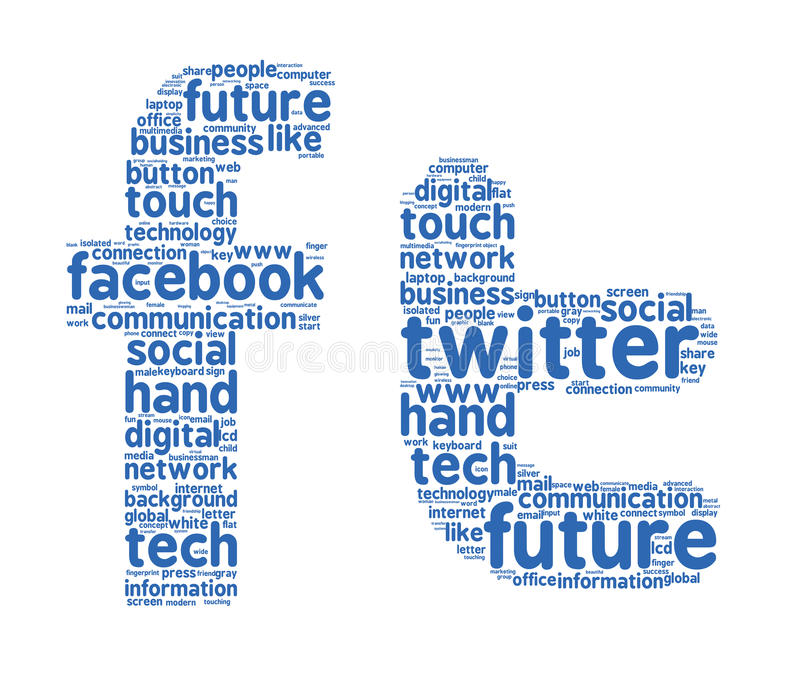 Facebook twitter word clouds. Facebook and Twitter logo letters filled with related words