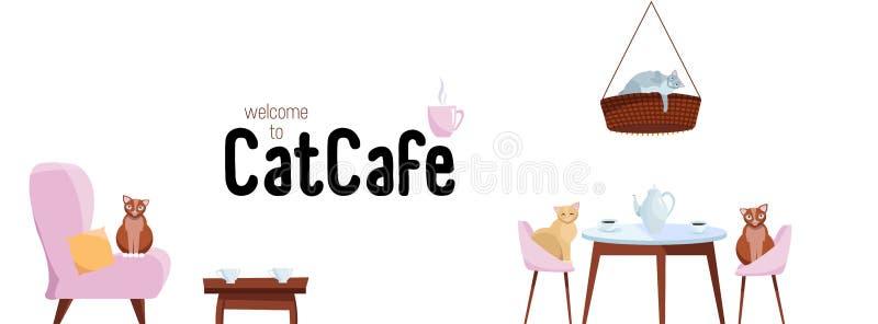 Facebook umfassen Netz-Fahnen-Social Media entwerfen Willkommen zum Katzencafé Schablonen-Vektor auf weißem Hintergrund Katzen si stock abbildung