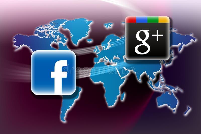Facebook v Google más stock de ilustración