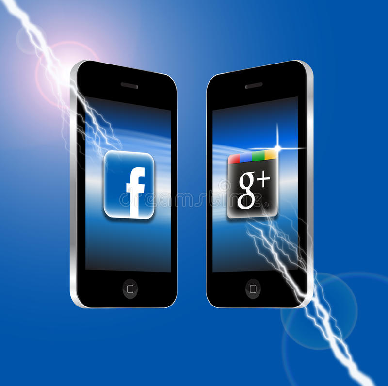 Facebook v Google plus stock illustratie