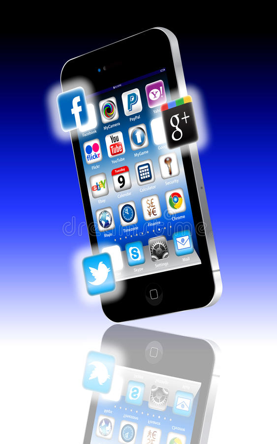 Facebook V Google plus vTwitter stock abbildung