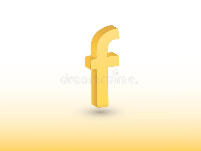 Facebook-Vektorikonenillustration unter Verwendung der goldenen Farbe auf weißem Hintergrund für Social Media vektor abbildung