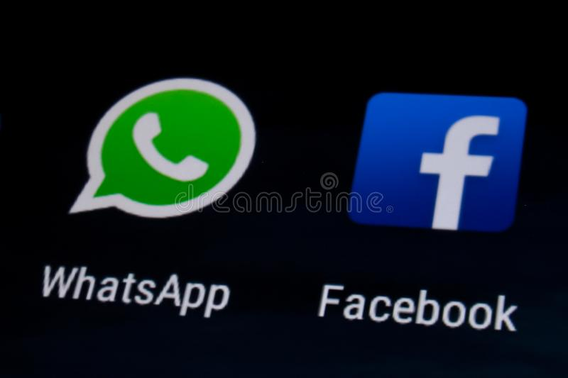 Facebook and Whatsapp stock images