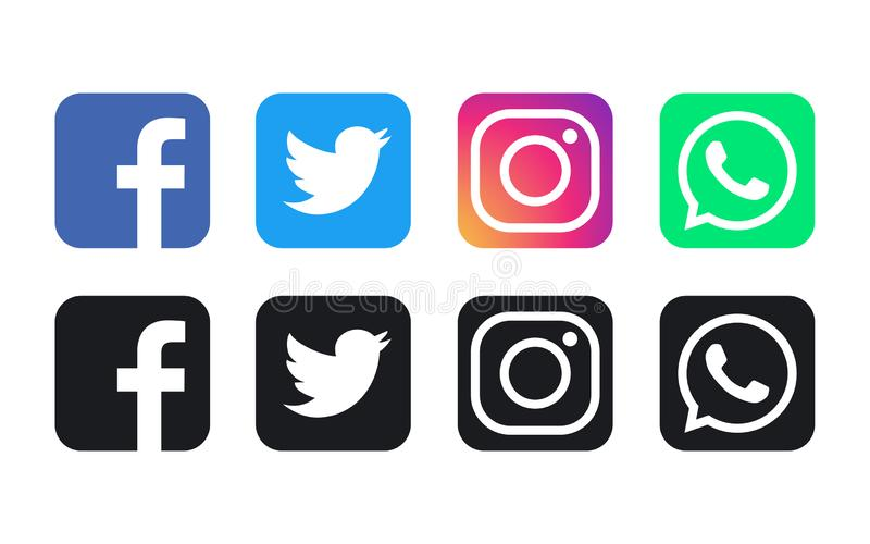 Facebook, WhatsApp, Twitter and Instagram logos. Facebook, WhatsApp, Twitter and Instagram logo. Vector illustration. Facebook, WhatsApp, Twitter and Instagram vector illustration