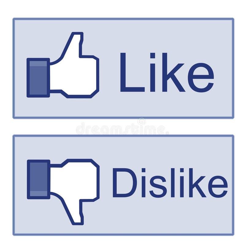 Facebook zoals de Duim van de Afkeer ondertekent omhoog vector illustratie