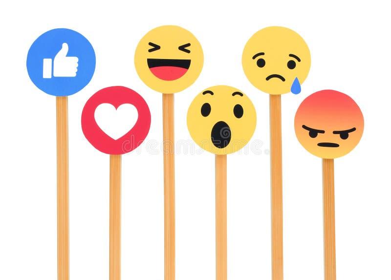 Facebook zoals knoop 6 Begrijpende Emoji-Reacties stock fotografie