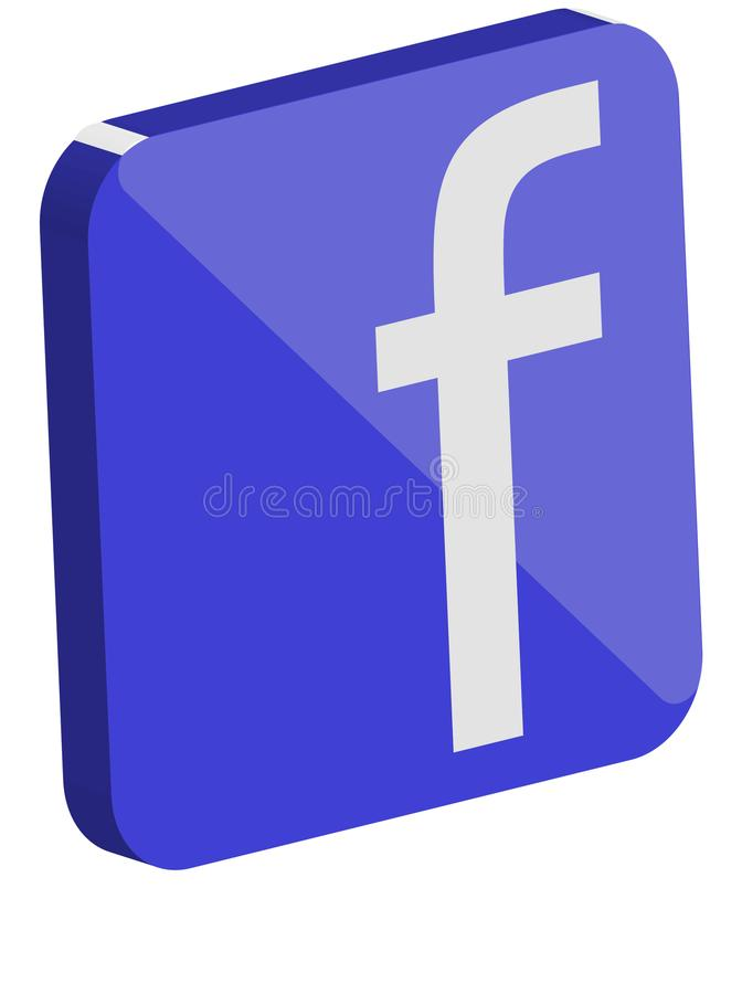 Faceboook 3D logo royaltyfria bilder