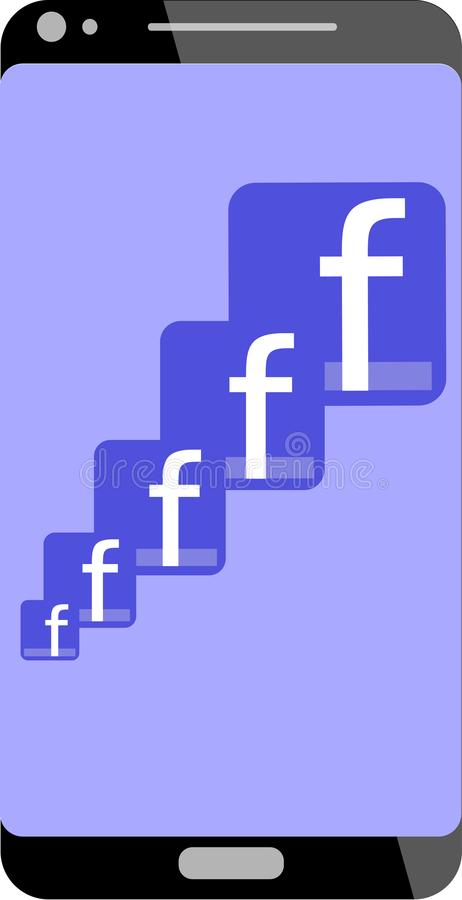 Faceboook logo in mobile phone royalty free illustration