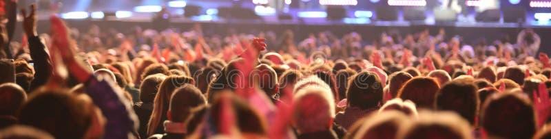 Faceci i dziewczyny widownia podczas żywego koncerta fotografia royalty free
