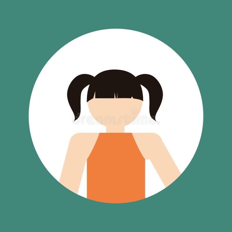 Faceles girl kid emblem within colored frame icon image. Illustration design stock photos