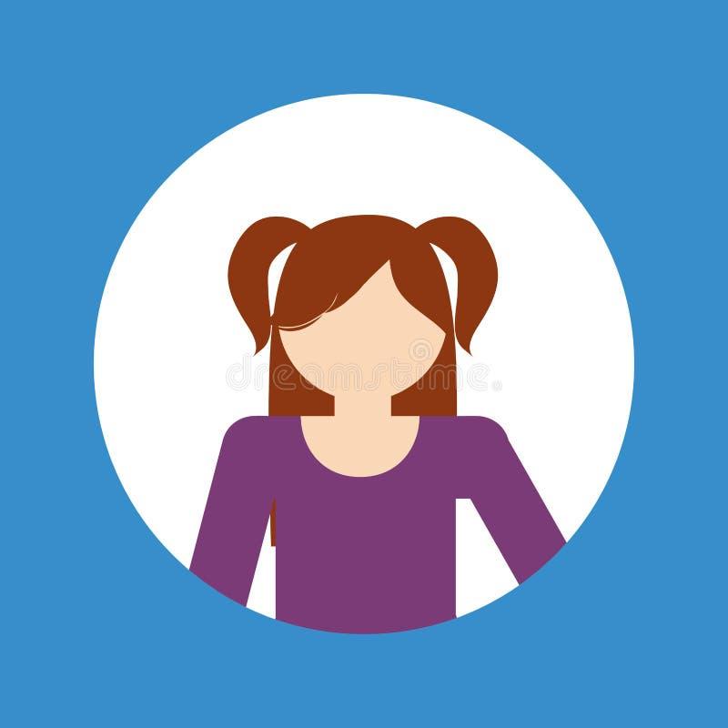 Faceles girl kid emblem within colored frame icon image. Illustration design royalty free stock image