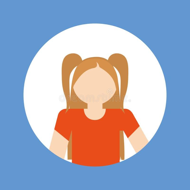 Faceles girl kid emblem within colored frame icon image. Illustration design royalty free stock photo