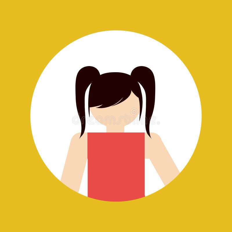 Faceles girl kid emblem within colored frame icon image. Illustration design stock photo