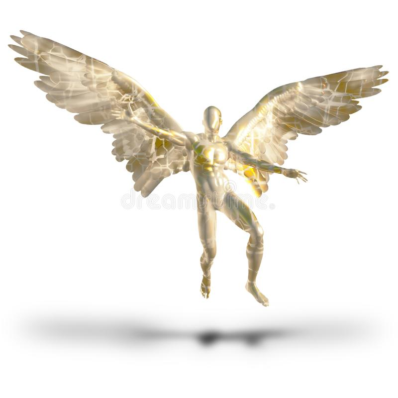 Faceless angel. Winged faceless angel. Human elements were created with 3D software and are not from any actual human likenesses vector illustration