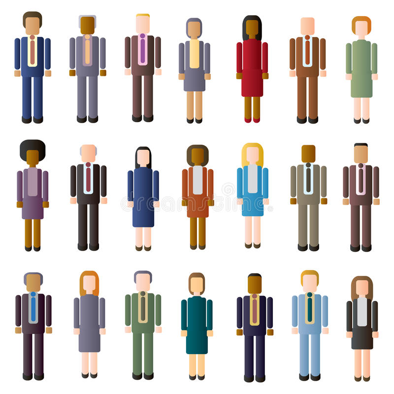 Faceless Business Crowd. A crowd of faceless business people of different ages and ethnicities royalty free illustration
