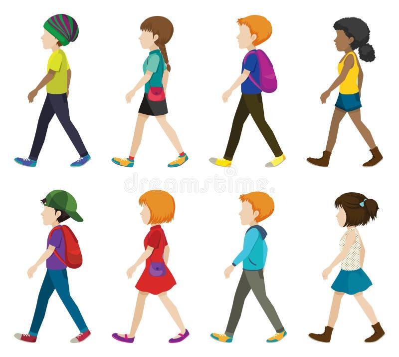 Faceless children walking. On a white background royalty free illustration