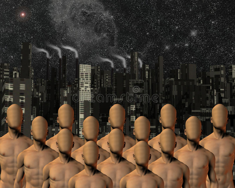 Faceless before city. High Resolution Illustration Faceless before city stock illustration