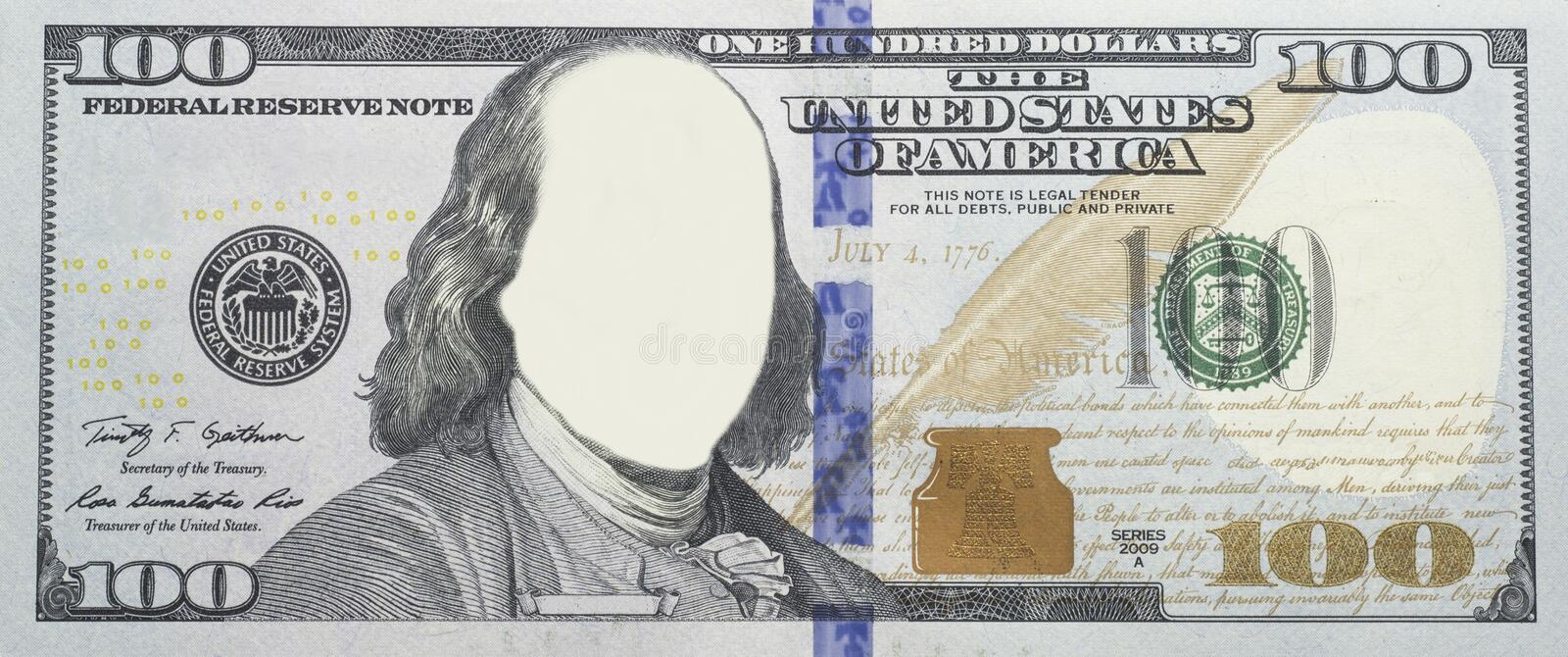 Faceless Clear $100 Bill stock photo. Image of money - 38292838