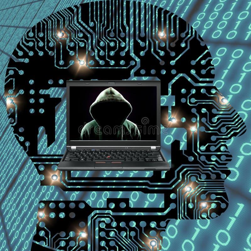 Faceless computer hacker danger concept royalty free stock photo