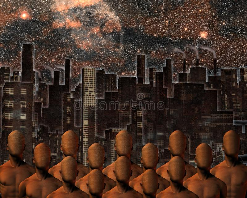 Faceless Crowd. Urban composition. Faceless men before city. Human elements were created with 3D software and are not from any actual human likenesses vector illustration