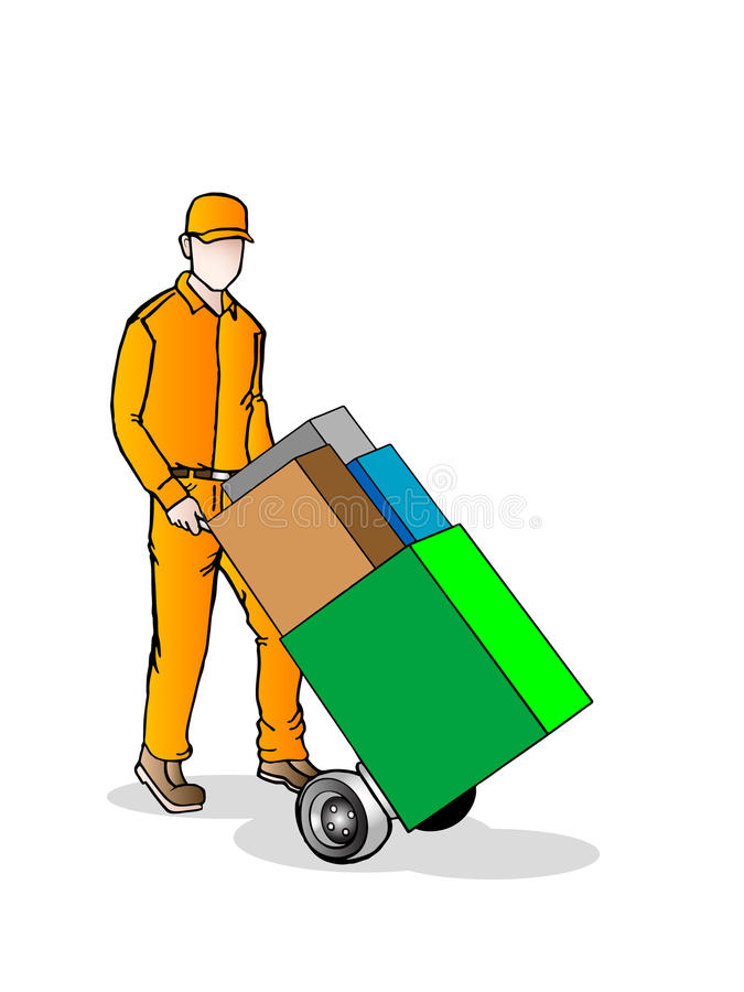 Faceless delivery man with hand truck