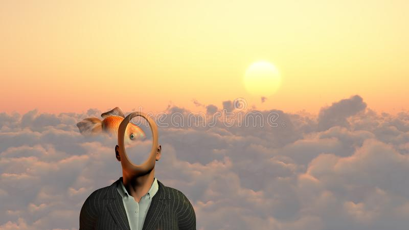 Faceless. Man above clouds. Golden fish. Human elements were created with 3D software and are not from any actual human likenesses royalty free illustration